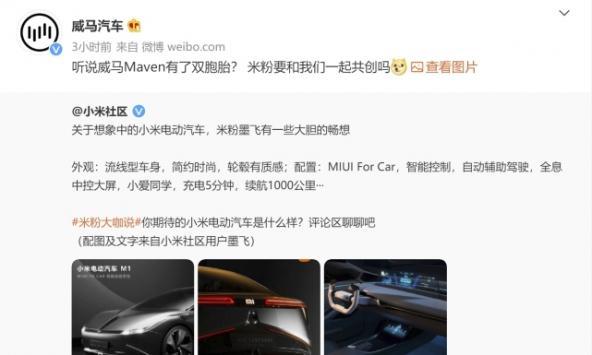 """小米电动汽车M1假想图""""撞脸""""威马?网..."""